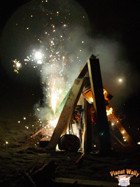 beach fire with pyro